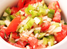 Salad of tomatoes and paprika. A fresh salad of tomatoes and paprika Stock Image