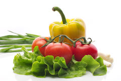 Salad, tomatoes, pepper still life. Fresh vegetables on white background Royalty Free Stock Images