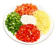 A salad of tomatoes, peppers, cheese, onions and Royalty Free Stock Photos