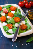 Salad with  tomatoes, spinach and mozarella Royalty Free Stock Images