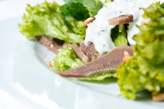 Salad with Tongue and Walnut Close-up Royalty Free Stock Photo