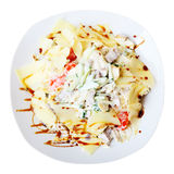 Salad with tongue on white dish. Top view Stock Image