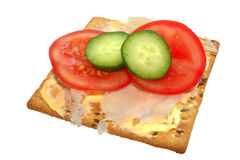 Salad topped soy and linseed biscuit Royalty Free Stock Image