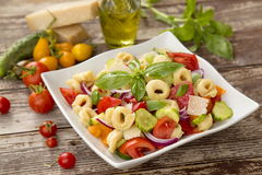 Salad with tortellini pasta Stock Photos