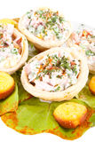 Salad in tortilla and corn bread Royalty Free Stock Images