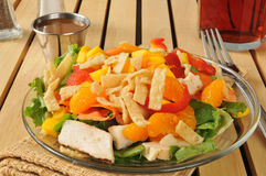 Salad with tropical fruit and chicken Stock Image