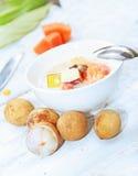 Salad of tropical fruits. Fruit salad of tropical fruits Stock Photos
