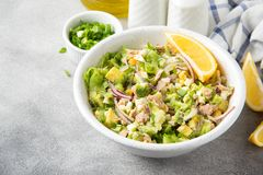 Salad with tuna, avocado, onion, egg and lemon. Spring healthy delicious lunch on light background. Salad with tuna, avocado, onion, egg and lemon. Spring stock photos