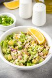 Salad with tuna, avocado, onion, egg and lemon. Spring healthy delicious lunch on light background. Salad with tuna, avocado, onion, egg and lemon. Spring royalty free stock photography