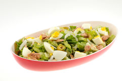 Salad with tuna and egg isolated. On a white background Stock Image