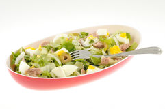Salad with tuna and egg isolated Stock Photo