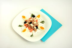 Salad with tuna. Tuna salad with egg on a white plate royalty free stock photo