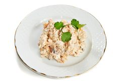 Salad with tuna and eggs, carrots, onions isolated Royalty Free Stock Photography