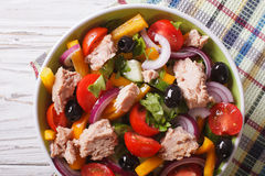 Salad with tuna fish and vegetables close up horizontal top view Stock Photo