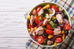 Salad with tuna fish and vegetables horizontal top view Royalty Free Stock Photo