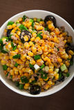Salad with tuna fish and white corn Stock Photo