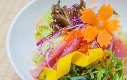 Salad tuna japanese style. Saland tuna japanese style in white bowl Stock Photography