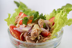 Salad tuna. Mix herbs,lemongrass,tomato,chili,shallot,lemon and vegetable.It`s good for health and see close-up so delicious Stock Images