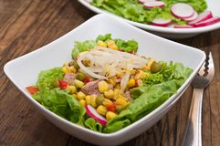Salad with tuna and Mung bean sprouts. On a wooden board stock photography