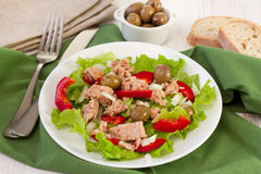 Salad with tuna, olives and pepper Stock Photography