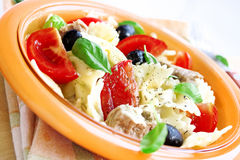 Salad with tuna,pasta and tomatoes Royalty Free Stock Photos