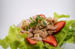 Salad tuna with strawberry. Salad tuna mix herbs,lemongrass,tomato,chili,shallot,lemon and vegetable.It`s good for health and see close-up so delicious Royalty Free Stock Photography