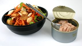 Salad and tuna together. Salad in a bowl Royalty Free Stock Image