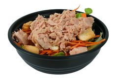 Salad with tuna on top. Salad in a bowl Royalty Free Stock Photos