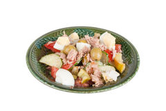 Salad of tuna with vegetables and cheese in a green bowl isolate Stock Photos
