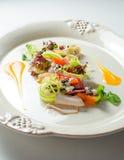 Salad with turkey fillet  baked pumpkin, ricotta truffle sauce Royalty Free Stock Photos
