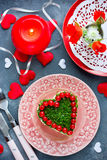 Salad on Valentine`s Day - salad shaped heart Royalty Free Stock Photography