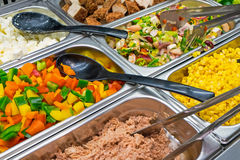 Salad variety at a buffet. Some colourful salads seen at a restaurant buffet Stock Photo