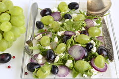 Salad with various grapes, goat cheese, purple onion, arugula Royalty Free Stock Photography