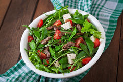 Salad with veal slices Royalty Free Stock Photo