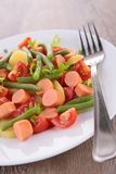Salad with vegetable and sausages Stock Photo
