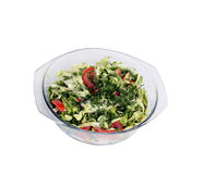 Salad vegetable. Tomatoes, cabbage, cucumbers, garden radish and greens with olive oil. It is isolated on a white background Royalty Free Stock Photography