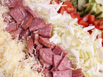 Salad from vegetables, кобасы and cheese Royalty Free Stock Photography