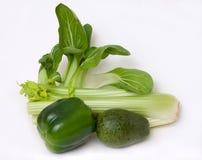 Salad Vegetables. Healthy green salad vegetables, crisp and fresh Stock Photo