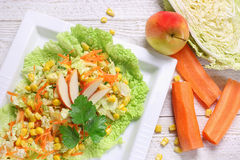 Salad of vegetables and apples Royalty Free Stock Photography