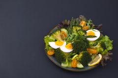 Salad from vegetables, on a black background. Vegetarian food. Chinese food. Healthy lunch. Place for text. copy space royalty free stock image