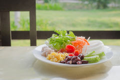 Salad vegetables in breakfast. Salad promotes healthy morning meal Stock Photography
