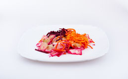 Salad with vegetables. Cabbage, beet and carrot Royalty Free Stock Photo
