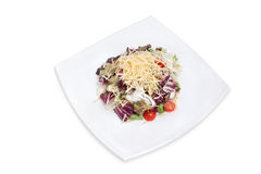 Salad with vegetables, cheese and meat Stock Images