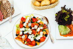 Salad with vegetables and feta cheese. Royalty Free Stock Images
