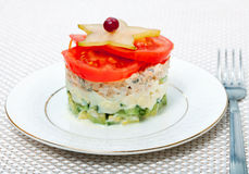 Salad of vegetables and fish tuna Royalty Free Stock Photography