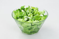 Salad with vegetables. In glass bowl , made from lettuce and cucumbers Stock Images