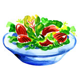 Salad with vegetables and greens on white Royalty Free Stock Images