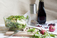 Salad: vegetables and herbs. Fresh spring salad royalty free stock image