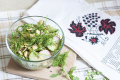 Salad: vegetables and herbs. Fresh spring salad stock photo