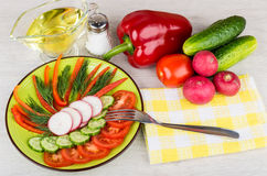 Salad from vegetables, jug of oil, heap of vegetable. And salt on table Royalty Free Stock Photo